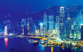Hong kong v noci na Vánoce — Stock fotografie