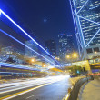 Busy traffic at night in Hong Kong — Stock Photo
