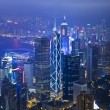Hong Kong office buildings at night - Stockfoto
