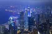 Budynki biurowe hong kong nocą — Zdjęcie stockowe