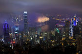 Fyrverkerier i hong kong, kina — Stockfoto