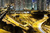 Traffic in Hong Kong downdown at night — Stock Photo