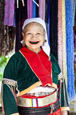 Lahu old woman with black teeth — Stock Photo