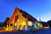 Chiangmai temple at night in Thailand — Stock Photo
