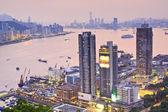 Hong kong západ slunce na město — Stock fotografie