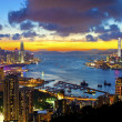 Hong Kong cityscape at sunset  — Stock Photo