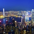 Hong Kong at night from top of the peak — Stock Photo