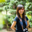 Asian woman photographer in nature — ストック写真