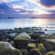 Sea stones along coast at sunset — Stock Photo #30639477