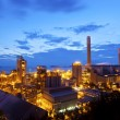 Petrochemical oil refinery plant at night — Stock Photo