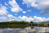 Panoramic landscape view and clear blue sky — Stock Photo