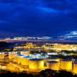 Oil tanks plant at night — Stock Photo