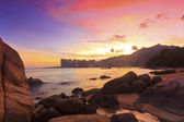 Sunset with sea stones in Hong Kong — Stock Photo