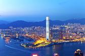 Hong Kong city at sunset — Stock Photo