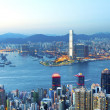 Hong Kong skyline at sunset — Stock Photo