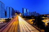 Los senderos de luz en la ciudad — Foto de Stock