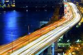 Feux de circulation dans le flou de mouvement — Photo