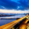 Panoramic view of the highway overpass at dusk in modern city — Stock Photo