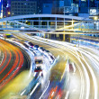 Highway with heavy traffic at night — Stock Photo