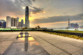 Hong Kong sunset in downtown — Stock Photo