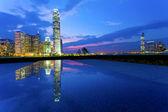 City downtown in Hong Kong at night — Stock Photo