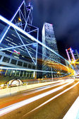 Busy traffic in highway at night in Hong Kong — Stock Photo