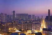 Crowded downtown high density area in Hong Kong — Stock Photo