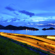 Flyover highway in Hong Kong at night — Stock Photo