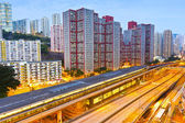 Railway transportation in Hong Kong at night — Stock Photo