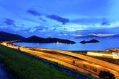 Flyover highway in Hong Kong at night — Stock Photo