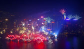 2014 New Year fireworks in Hong Kong — Stock Photo