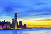 Hong Kong sunset in downtown — Stock Photo