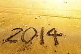 New year 2014 digits on ocean beach sand — Foto Stock