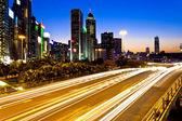 Modern city traffic at night in Hong Kong — Stock Photo