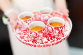 Chinese tea ceremony cups in wedding day — Stock Photo