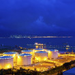 Big Industrial oil tanks in a refinery at night — Stock Photo #45852373