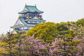 Osaka Castle in Japan under cherry blossom — Foto de Stock