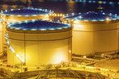 Oil tanks at night in Hong Kong — Stock Photo