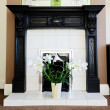 Stock Photo: Gas fireplace
