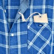 Blue checked shirt with price tag — Stock Photo