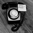 Black retro bakelite telephone — Stock Photo