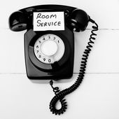 Retro room service telephone — Stock Photo