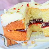 White chocolate jam and cream sponge cake — Stock Photo