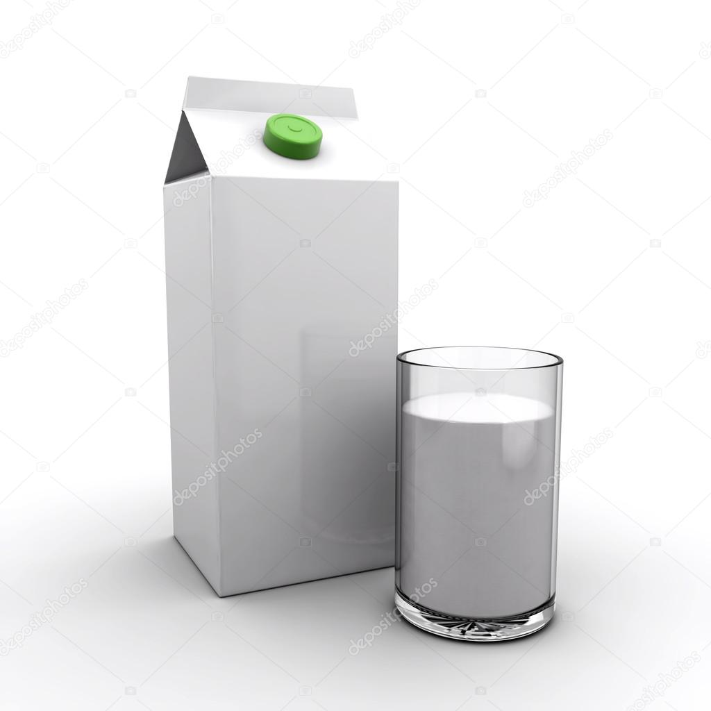 Milk pack and a glass of milk on a white background (3d render) — Stock Photo #13504587