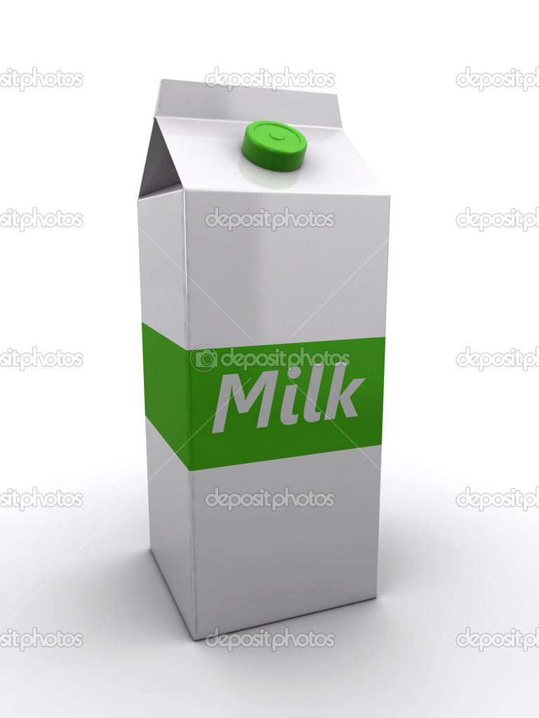 Milk pack on the white background (3d render)  Stockfoto #13661102