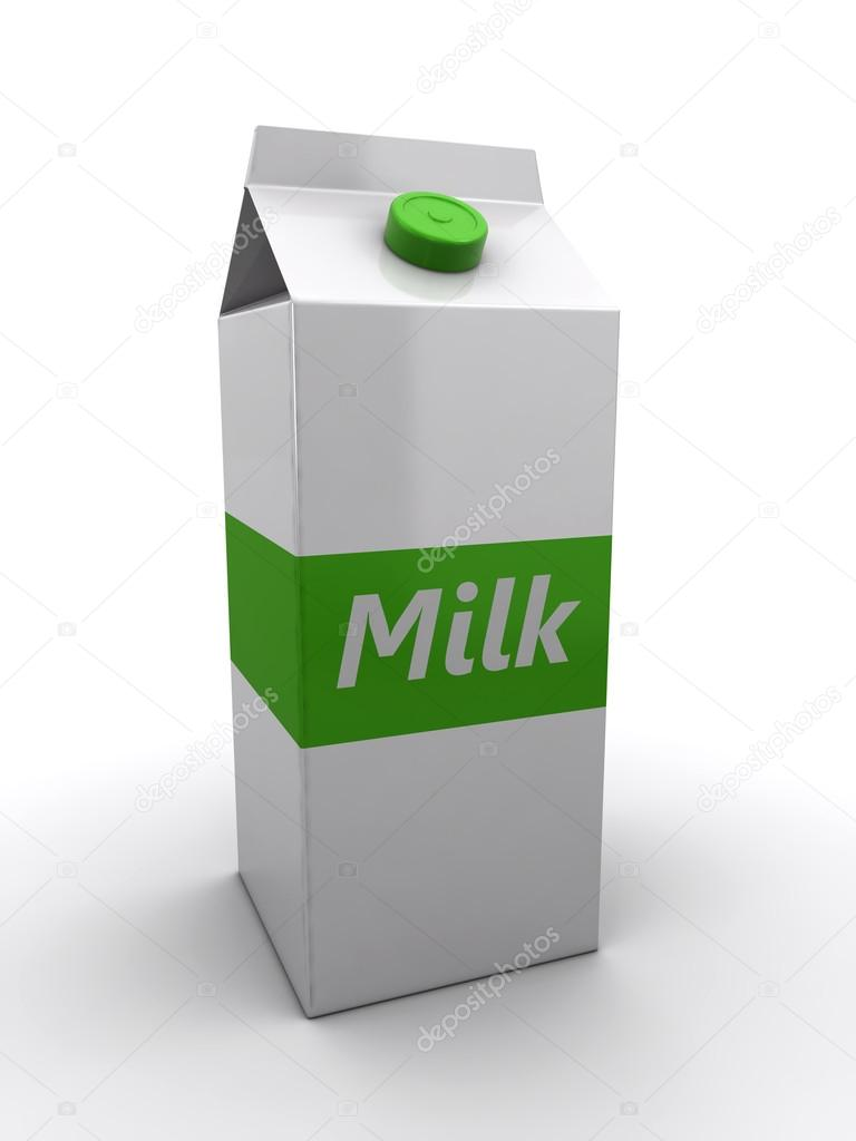 Milk pack on the white background (3d render) — Lizenzfreies Foto #13661102