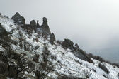 Rocks in Crimea (Ukraine) Northern Demerdzhi in January — Stock Photo