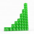 Graph from green cubes with percents — Stock Photo #6688655