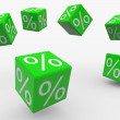 Flying green cubes with percents — Stock Photo #6766942