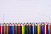 Color pencils lie exactly one to one — Stock Photo